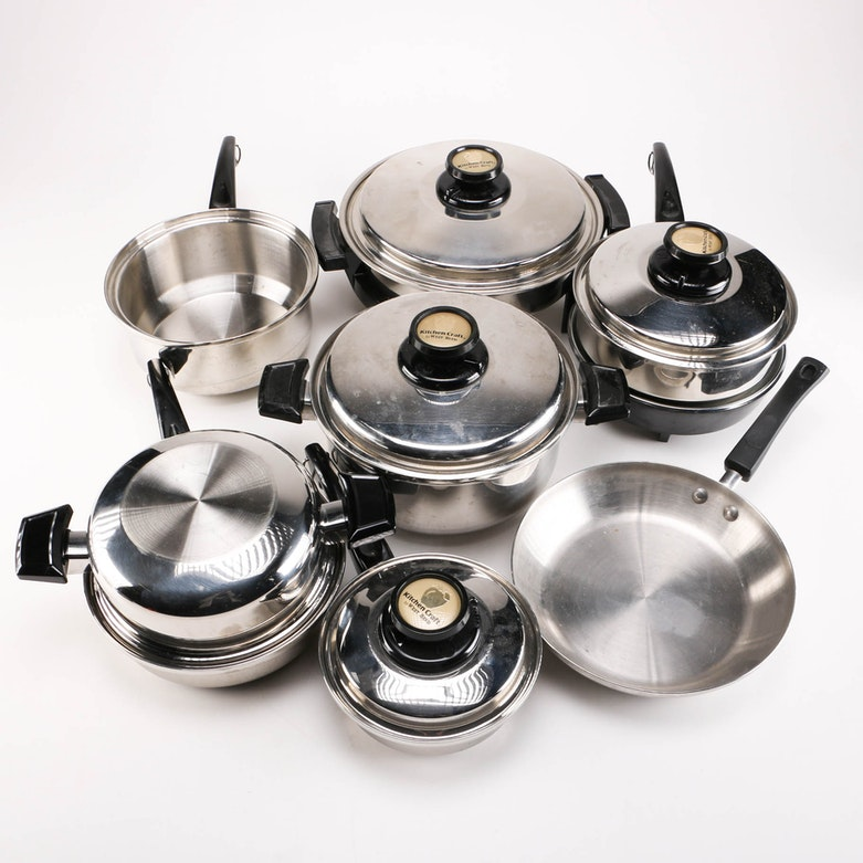 freedom stainless steel cookware set with copper tone