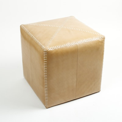 Jamie Young Cube Shaped Leather Ottoman