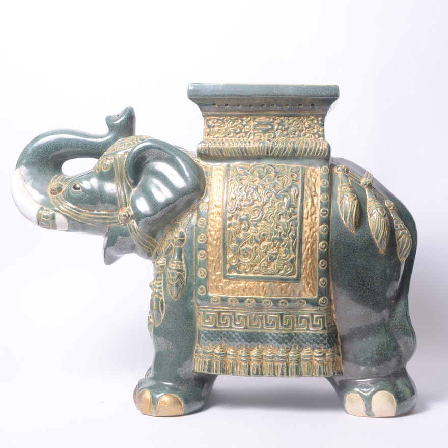 Ceramic Elephant Plant Stand Or Side Table