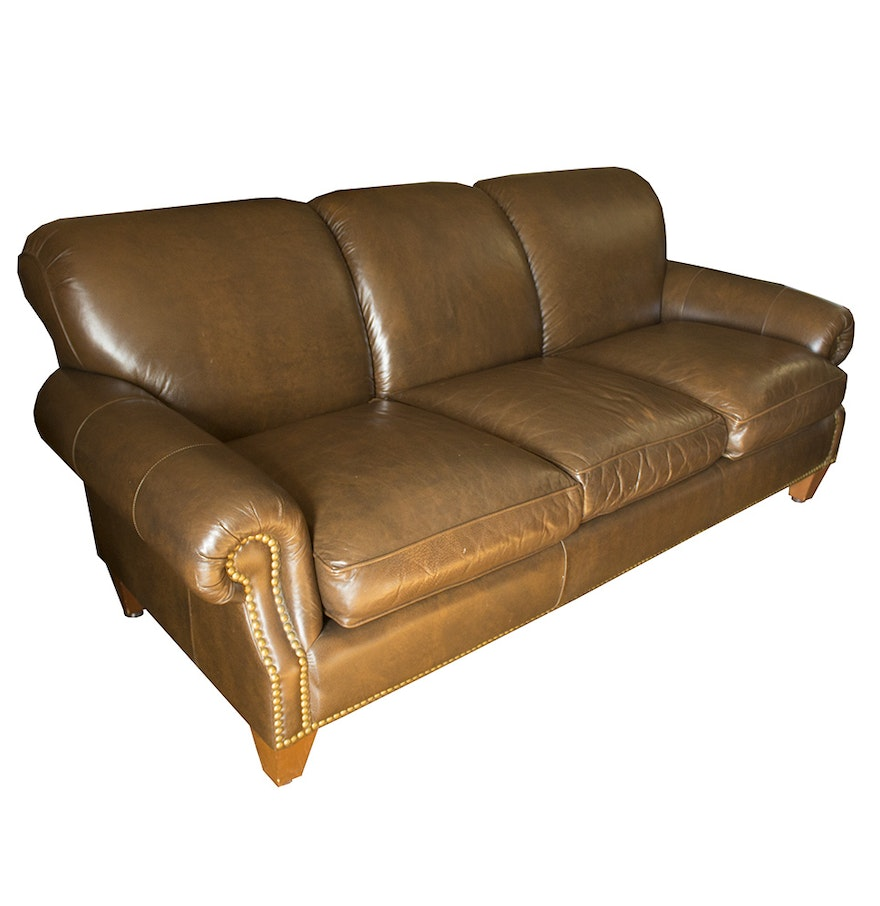 Leather Sofa With Nailhead Trim Ebth