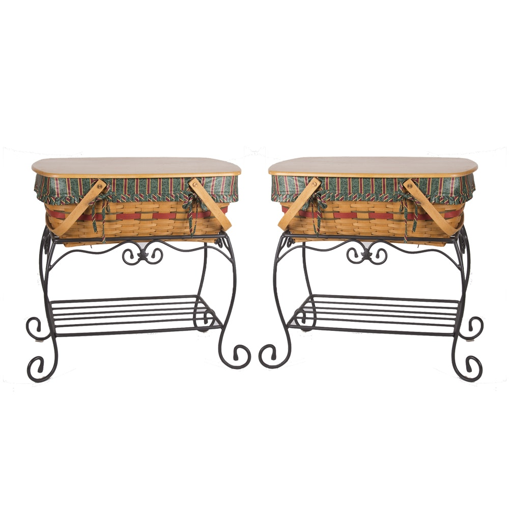 Longaberger Baskets In Wrought Iron Stands Ebth