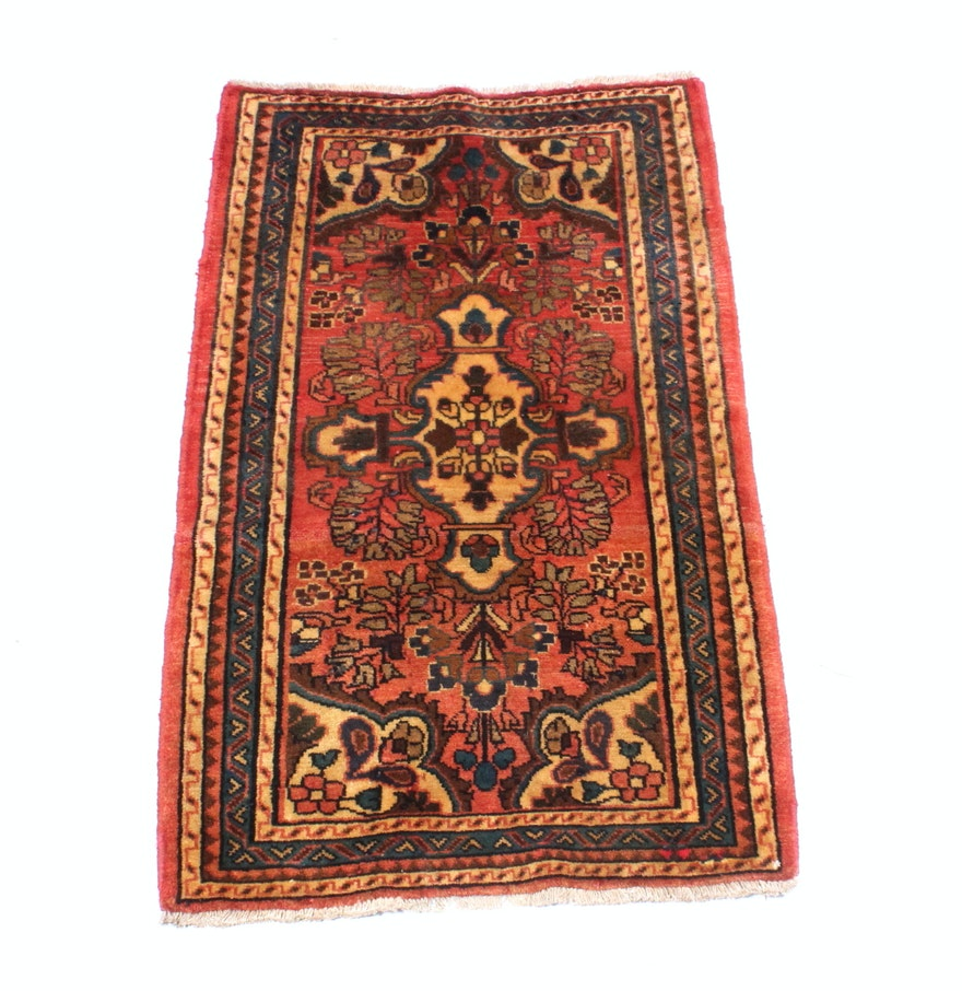Persian Hand Knotted Kashan Silk And Wool Area Rug Ebth: Hand Knotted Persian Lilihan Sarouk Area Rug : EBTH