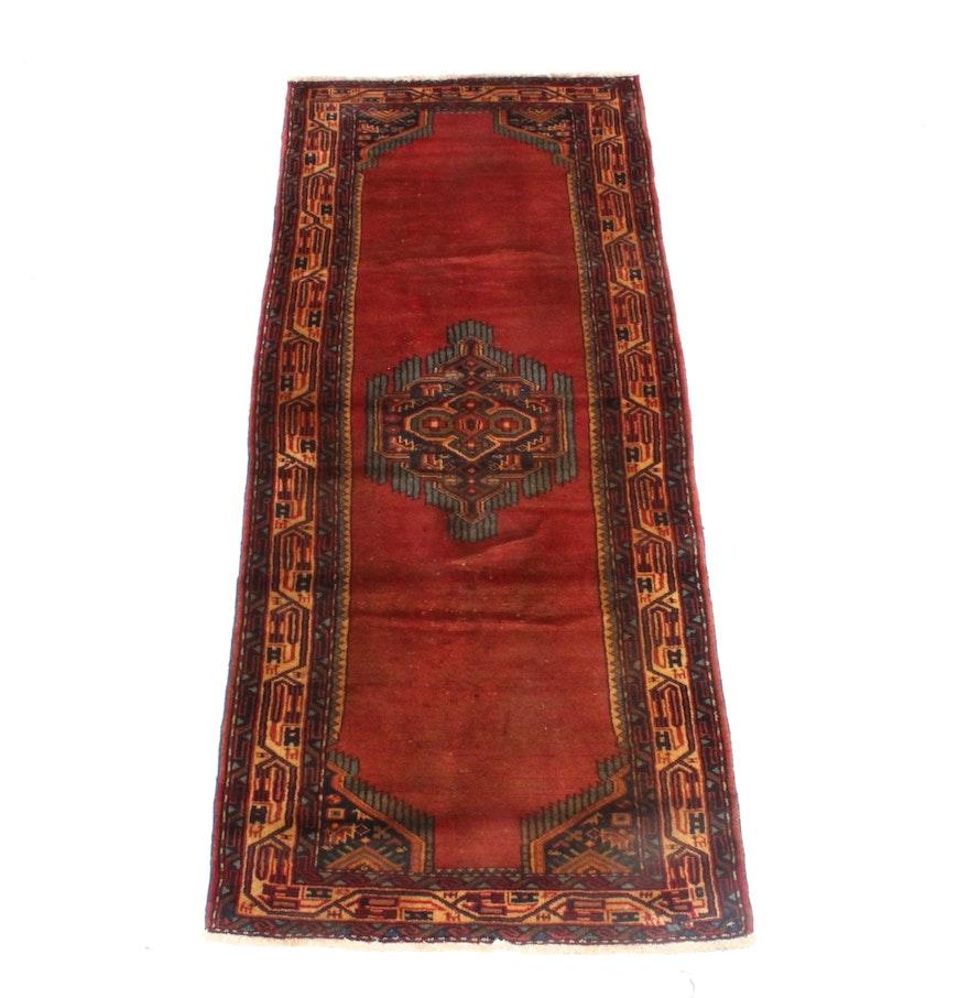 Hand Knotted Persian Hamadan Wool Area Rug Ebth: Hand Knotted Persian Roudbar Carpet Runner : EBTH