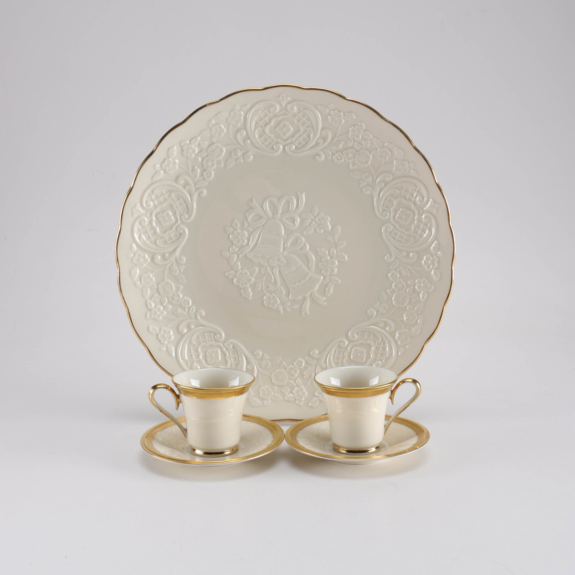 "Set of Lenox ""Aristocrat"" Teacups and a ""Wedding Promises"" Marriage Plate"