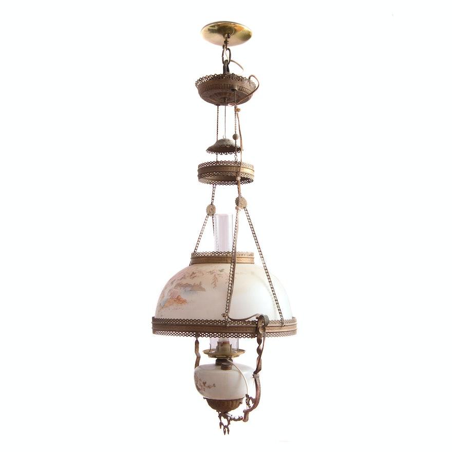 Antique American Victorian Pendant Oil Lamp