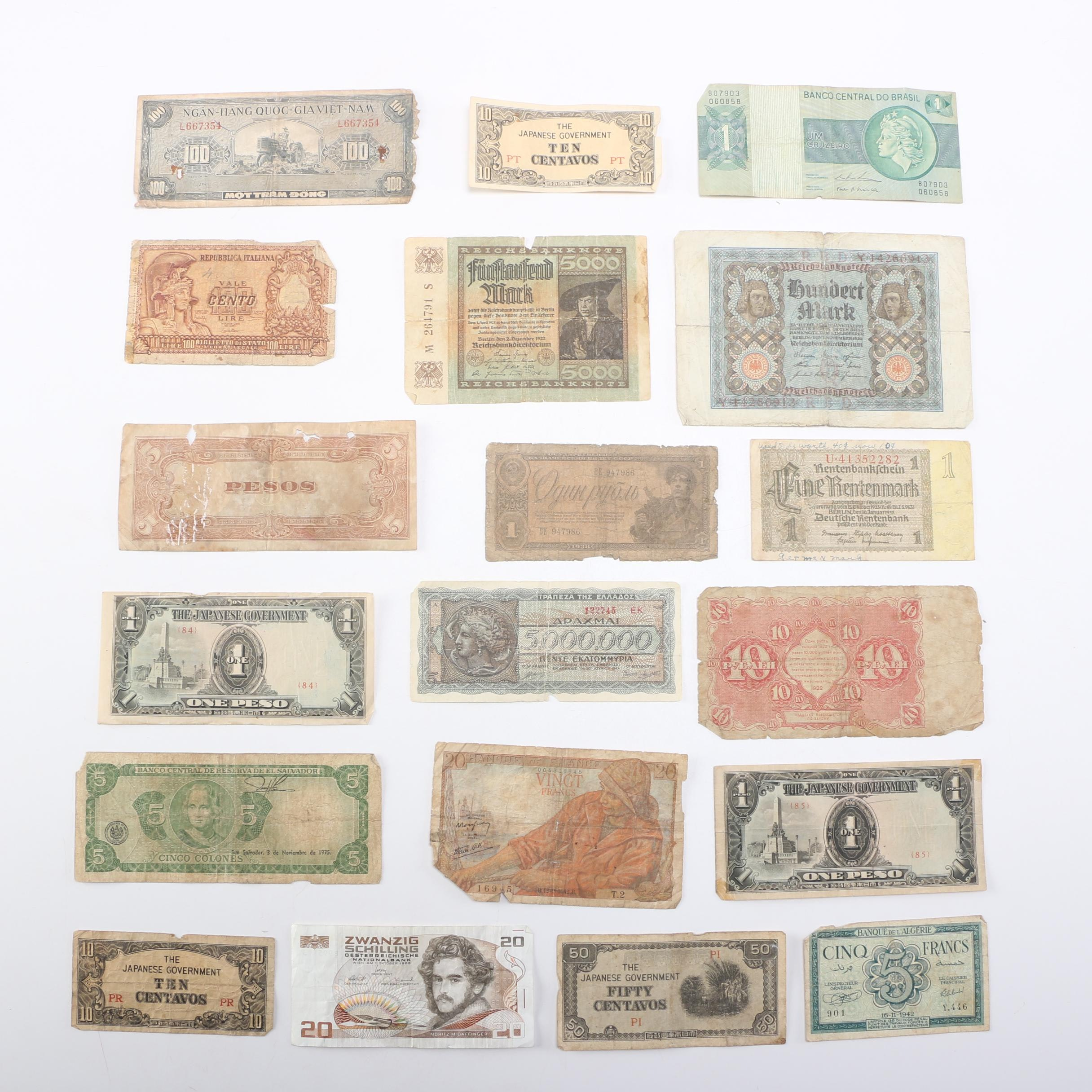 Vintage Assortment of Foreign Currency