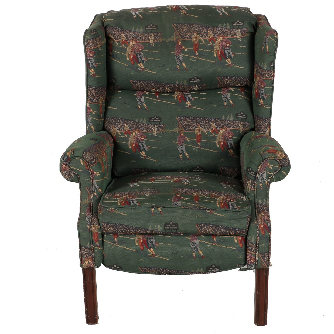 Wing Back Recliner with Football Upholstery