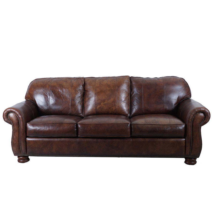 Thomasville brown leather sofa with ottoman ebth for Thomasville sectional sofa leather