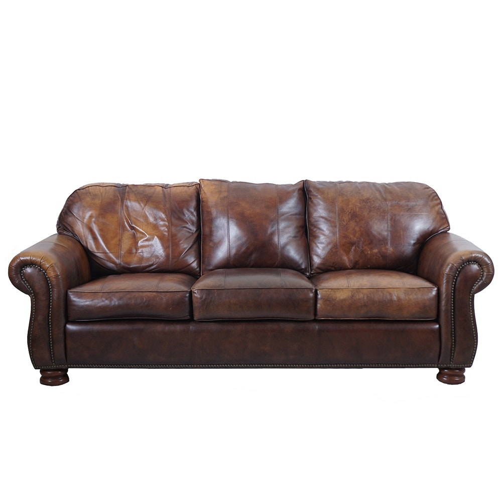 Thomasville Brown Leather Sofa With Ottoman