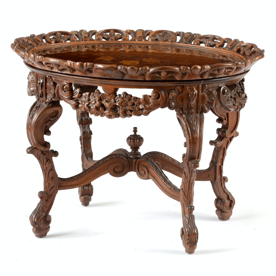 Vintage French Style Cocktail Table With Serving Tray