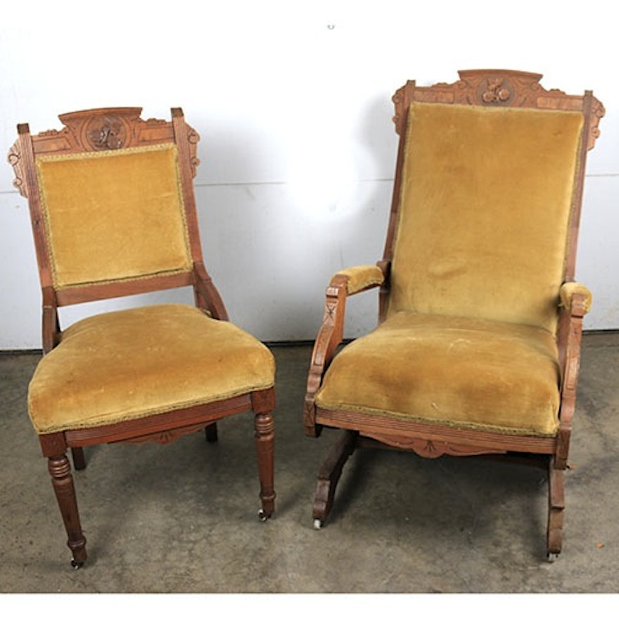 Two Antique Eastlake Chairs Ebth
