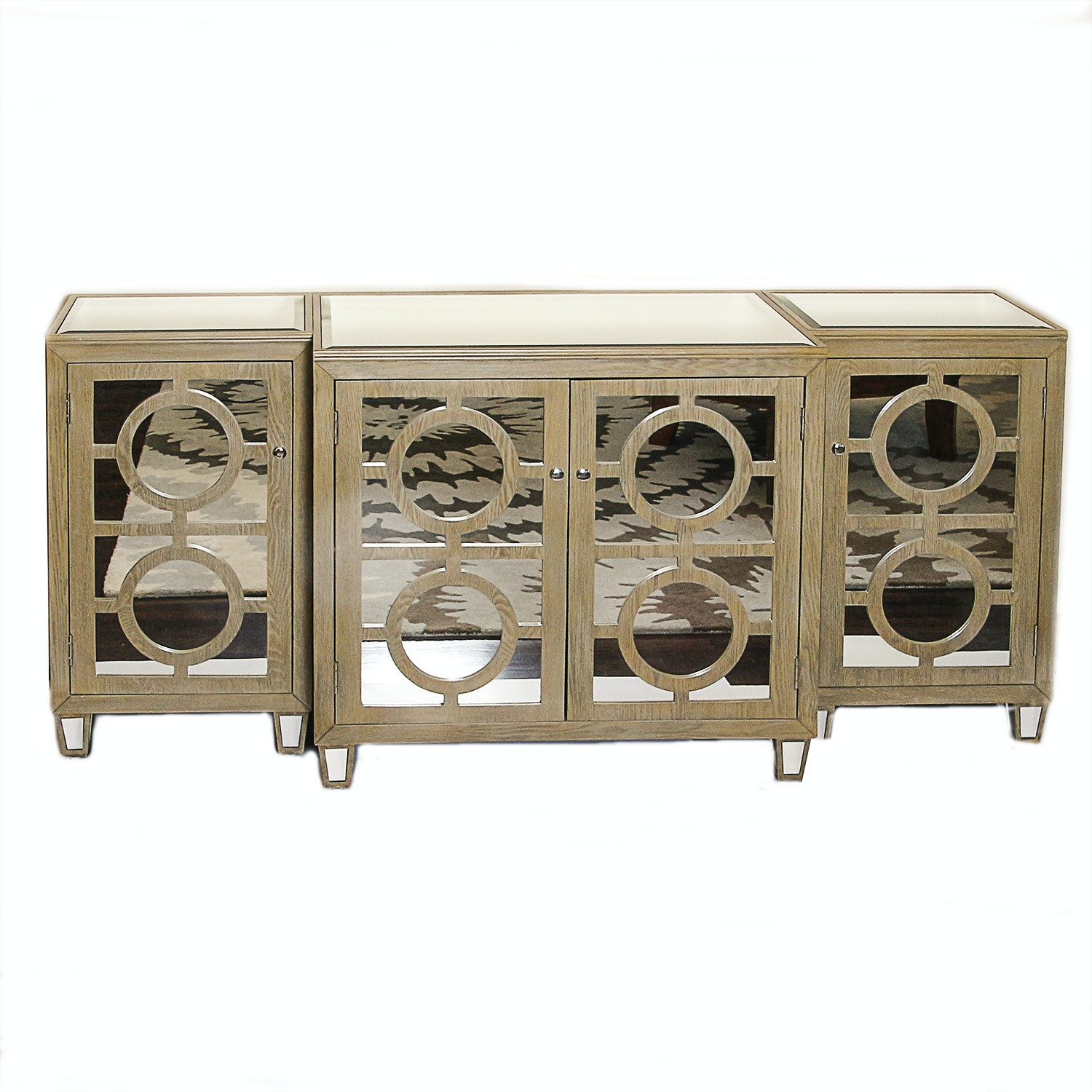Wooden and Mirrored Three Piece Media Center