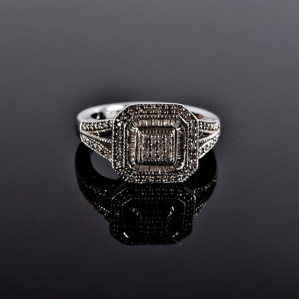Art Deco Style Sterling Silver and Diamond Ring
