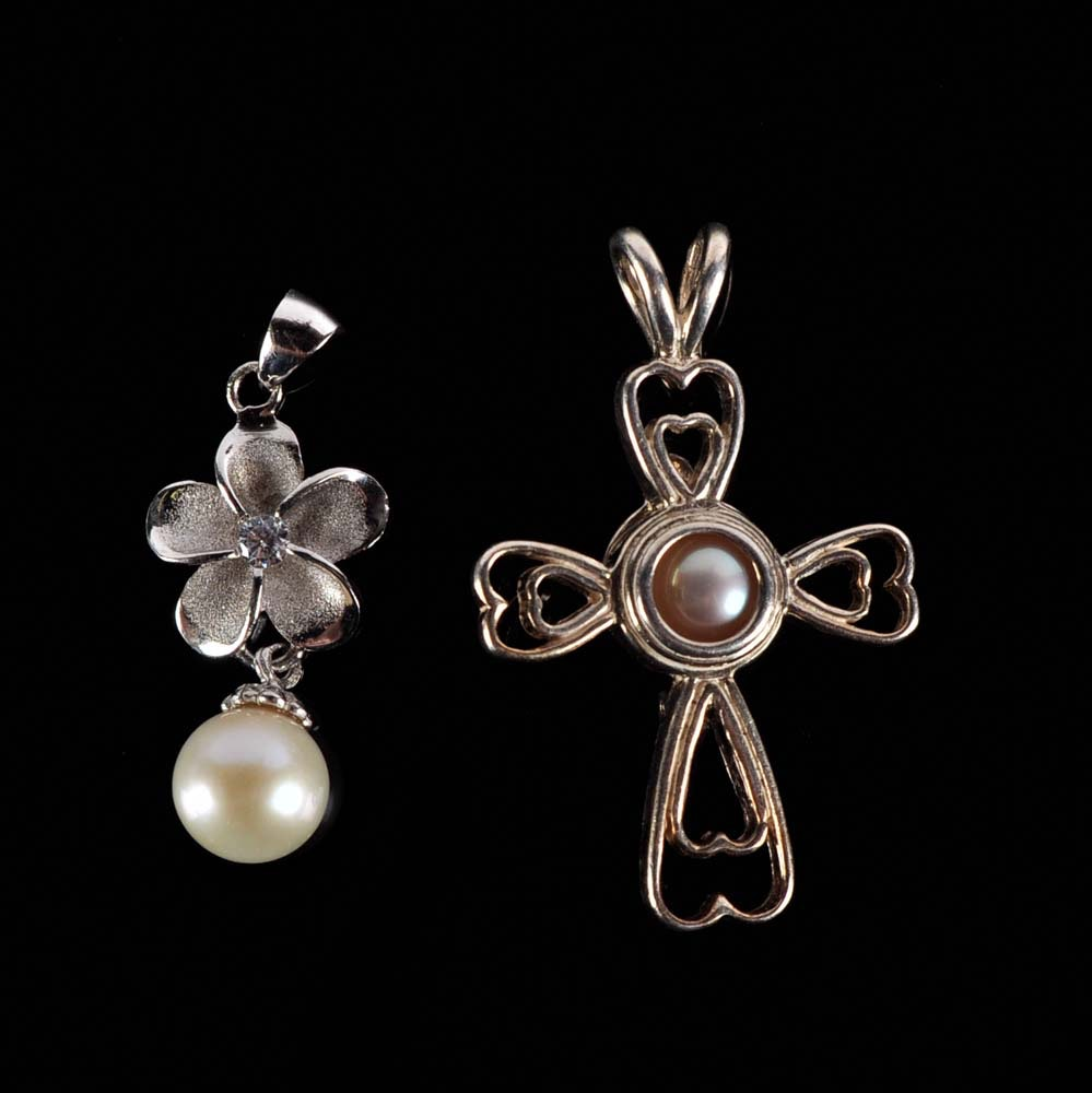 Sterling Silver and Pearl Pendant Pairing