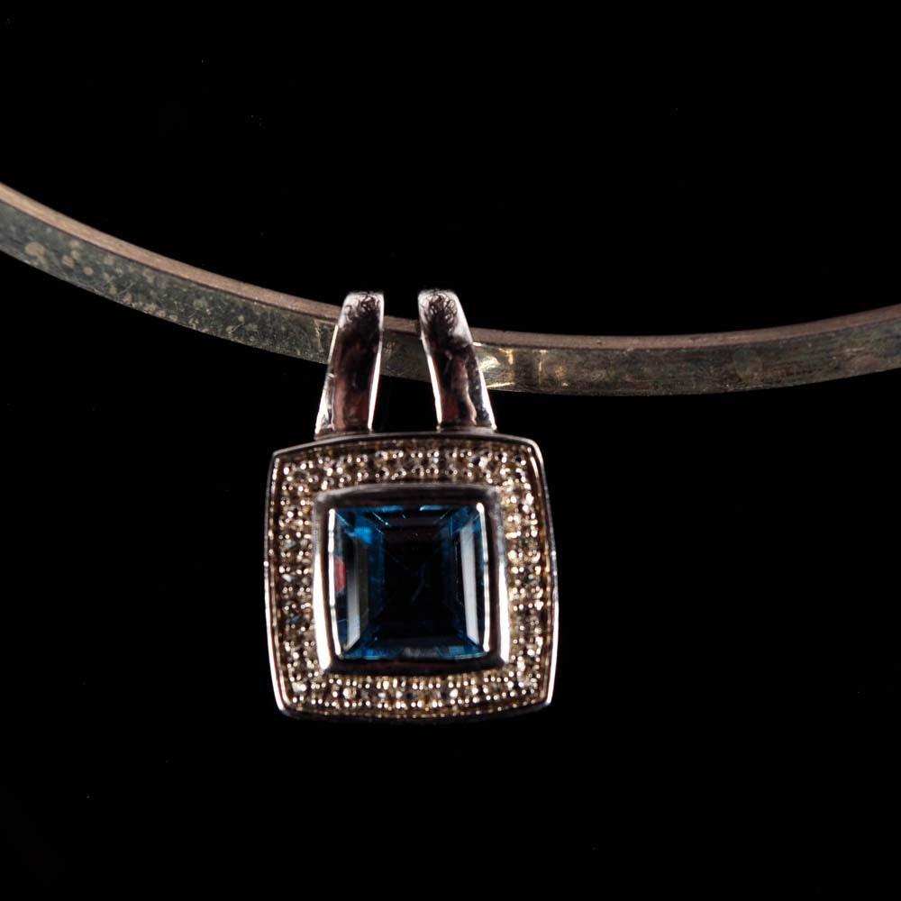 Sterling Silver, Blue Topaz, Clear Topaz and Diamond Choker