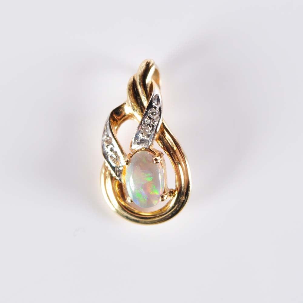 14K Opal and Diamond Pendant