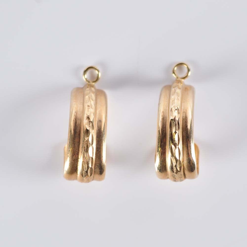 10K Yellow Gold Half Hoop Earring Jackets