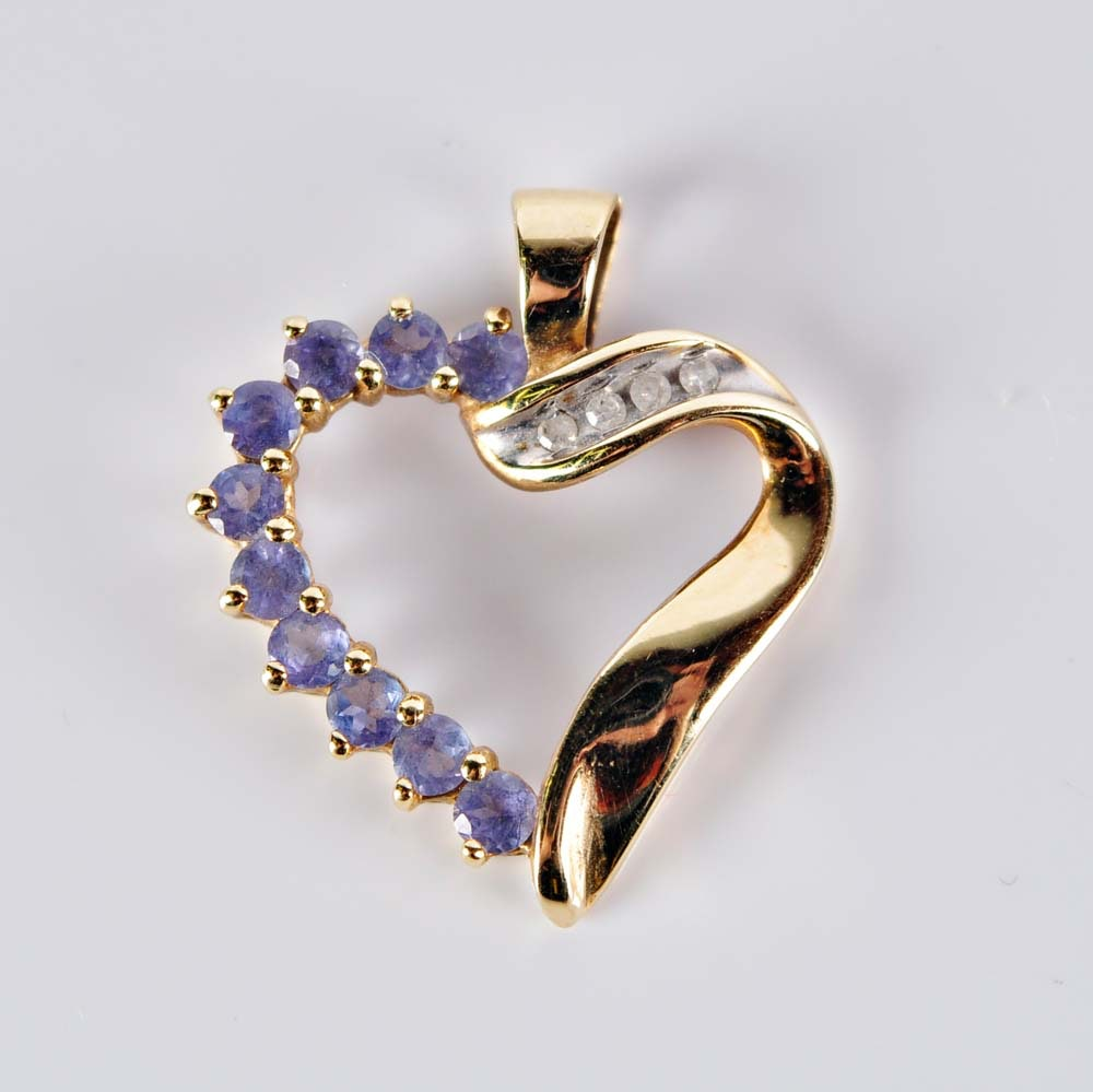 10K Tanzanite and Diamond Heart Pendant