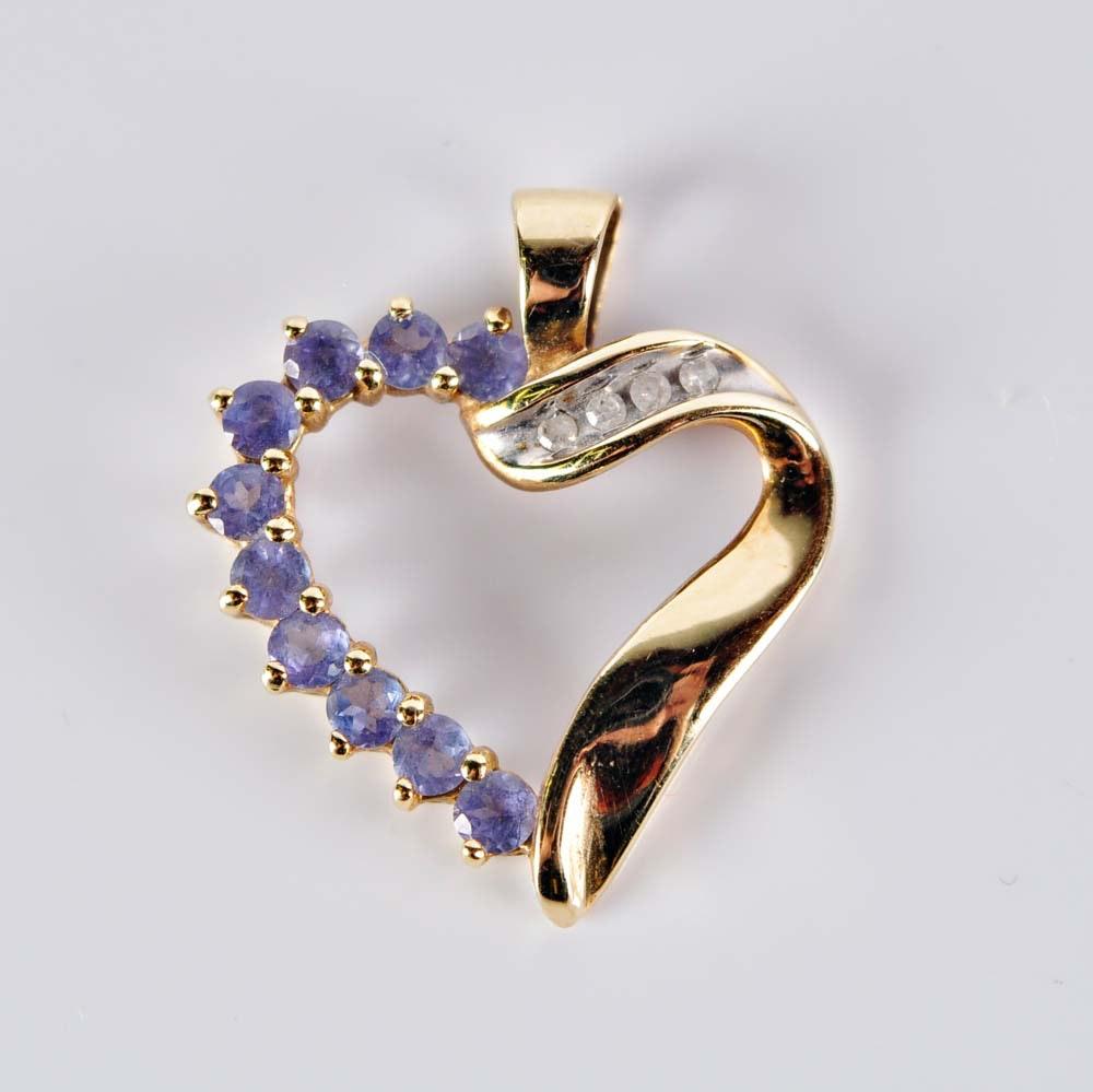 10K Tanzanite and Diamond Heart Pendant