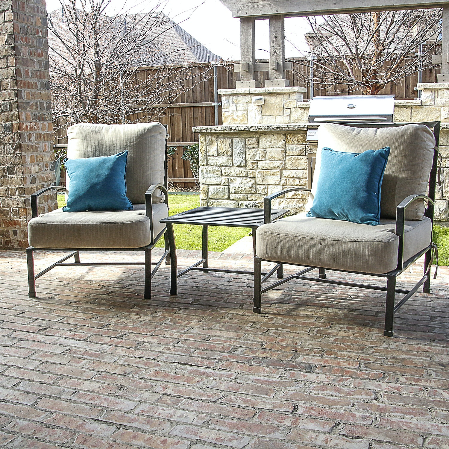 Pair of Patio Chairs and Patio Side Table