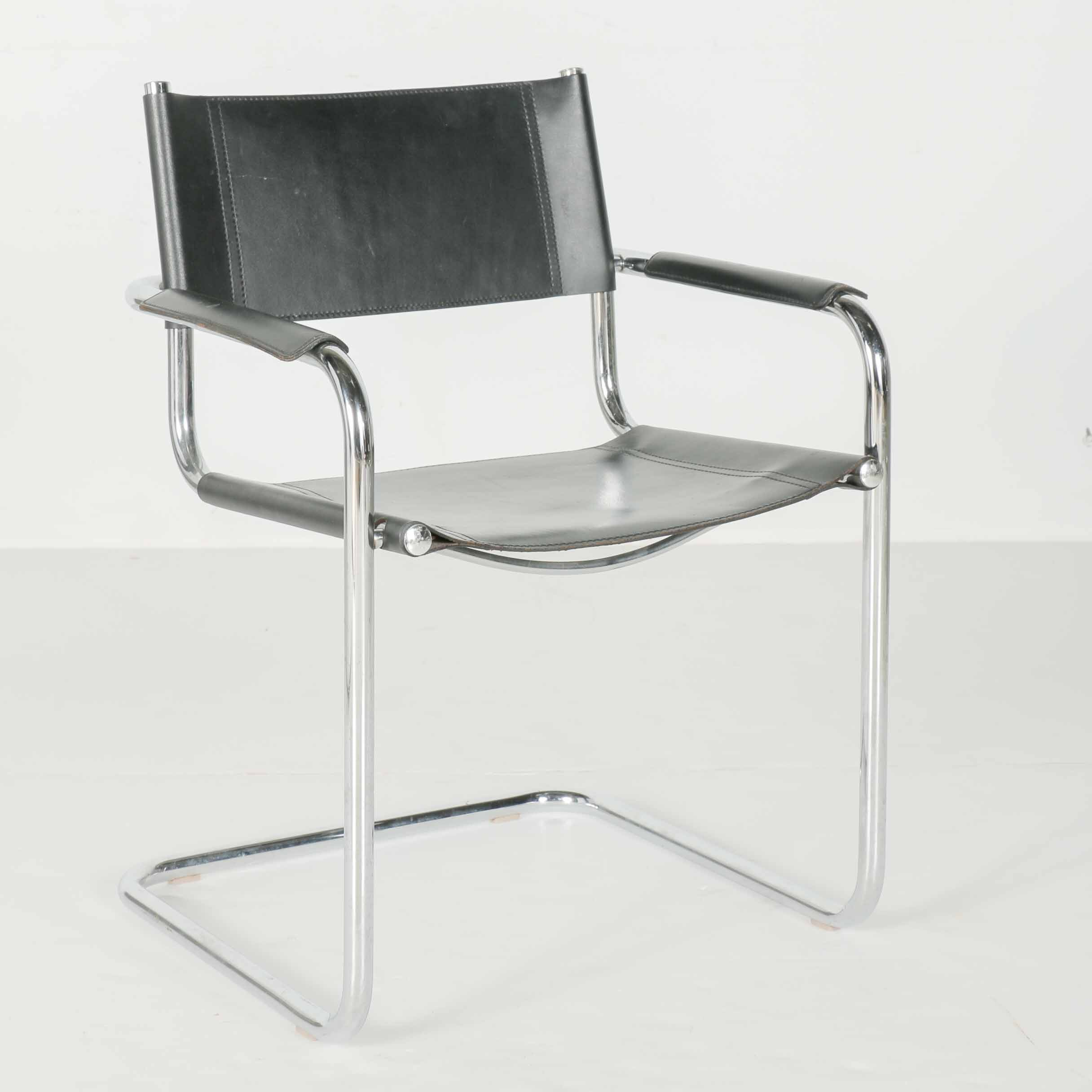 Loewnestein Oggo Mid Century Leather and Chrome Chair
