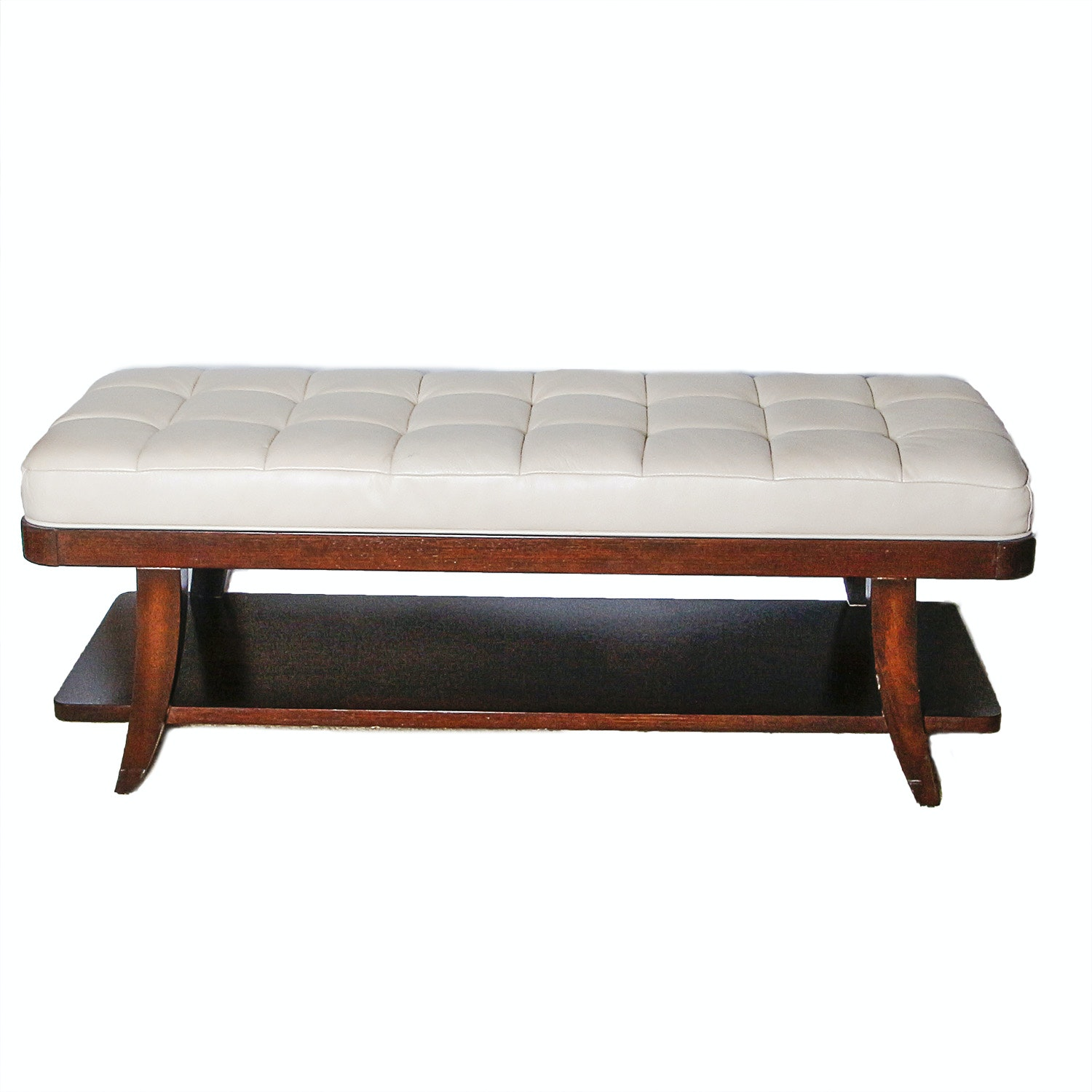 Wooden Bench With Leather Seat
