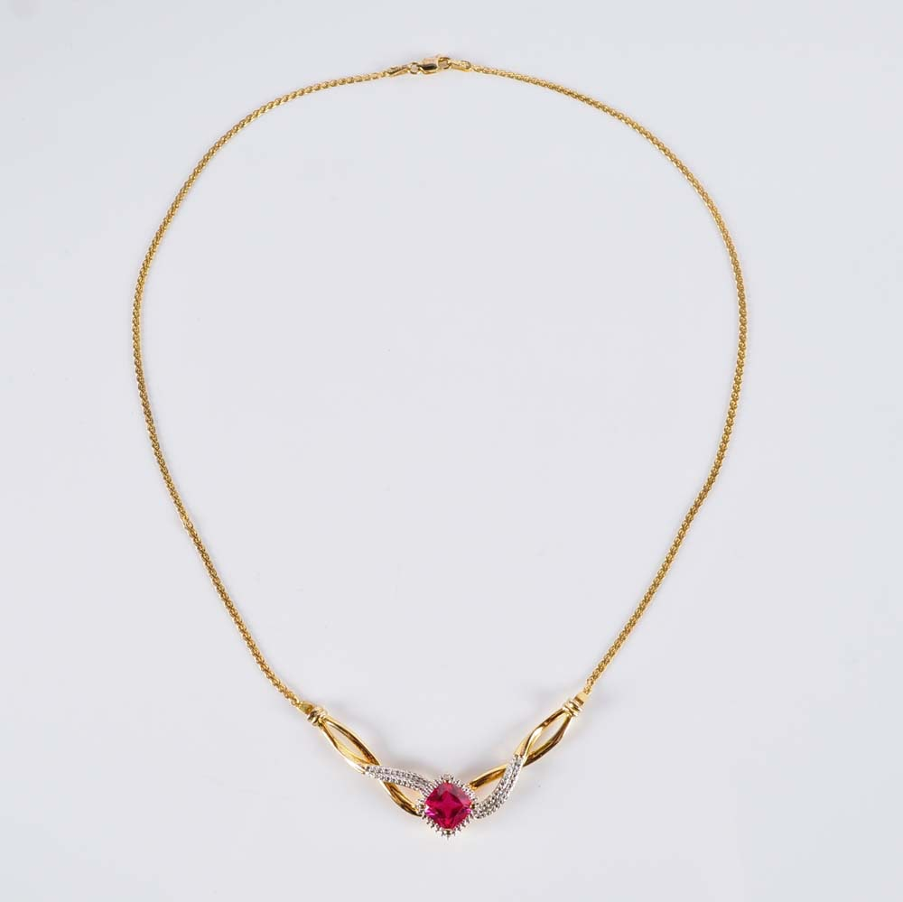 Gold Over Sterling Silver Silver Simulated Stone and Diamond Necklace