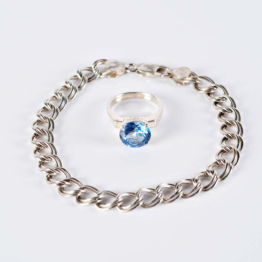 Sterling Silver Bracelet and Synthetic Stone Ring