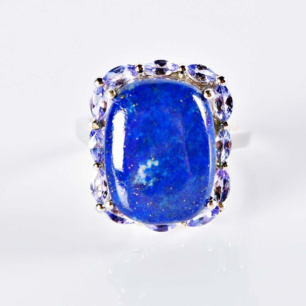 Sterling Silver Lapis and Tanzinite Ring