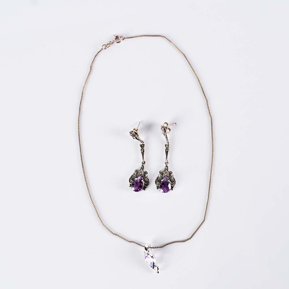 Sterling Silver and Amethyst Necklace and Earrings