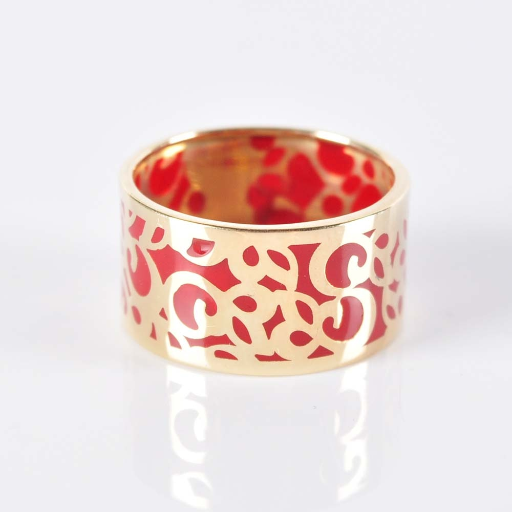 14K Enamel Inlay Ring
