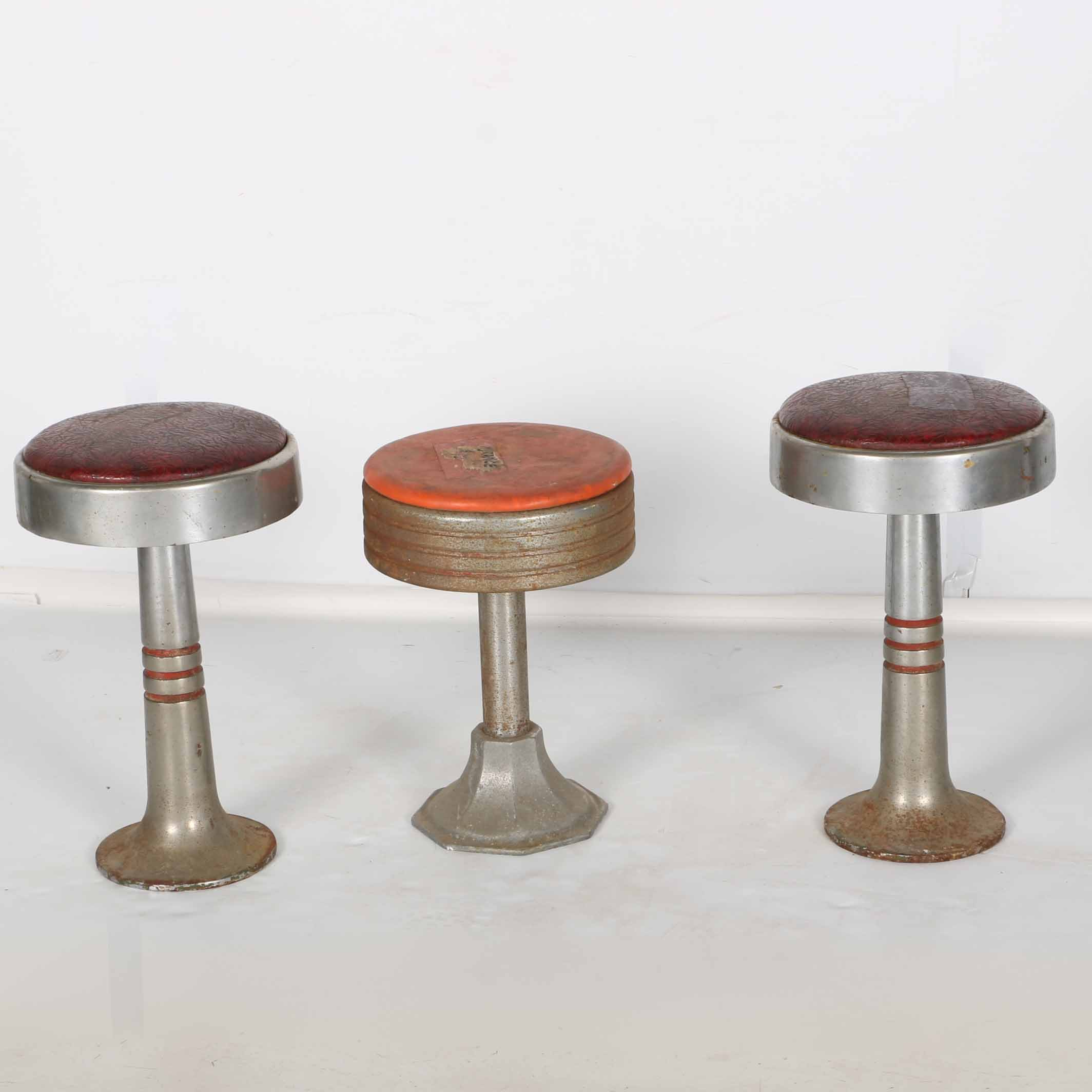 Three Vintage Soda Fountain Stools