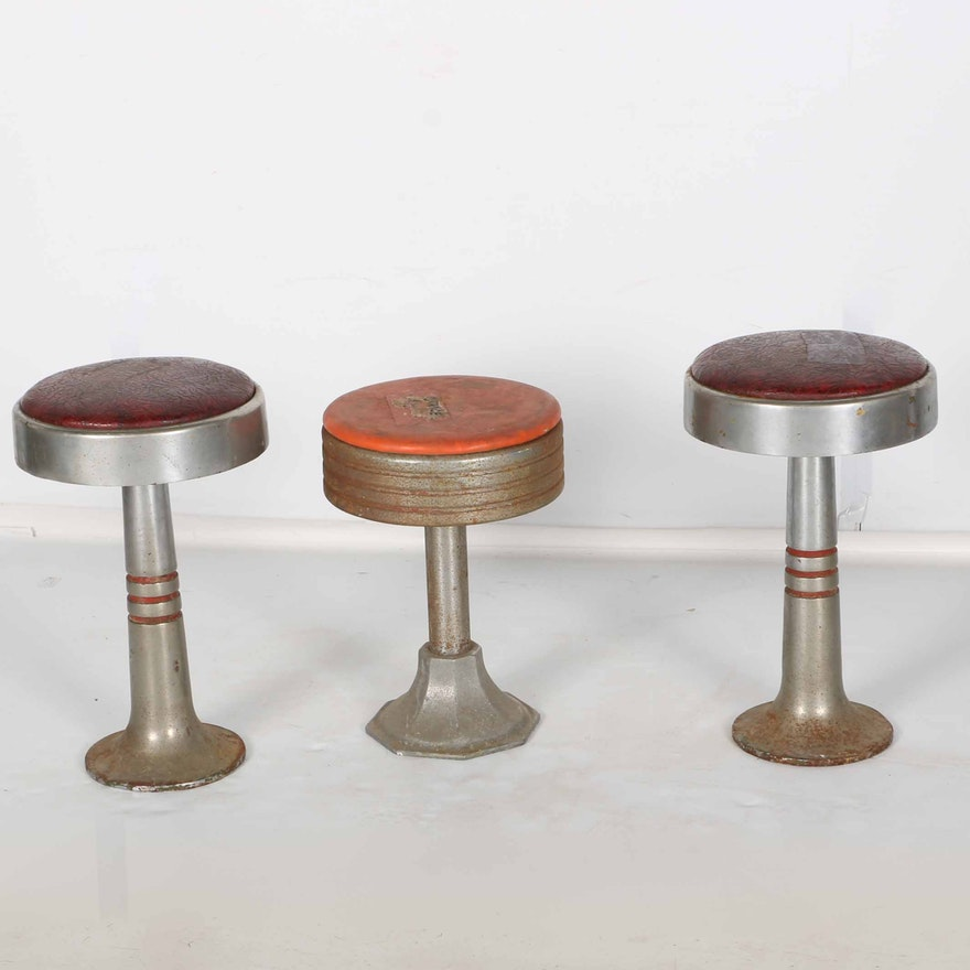 Three Vintage Soda Fountain Stools Ebth