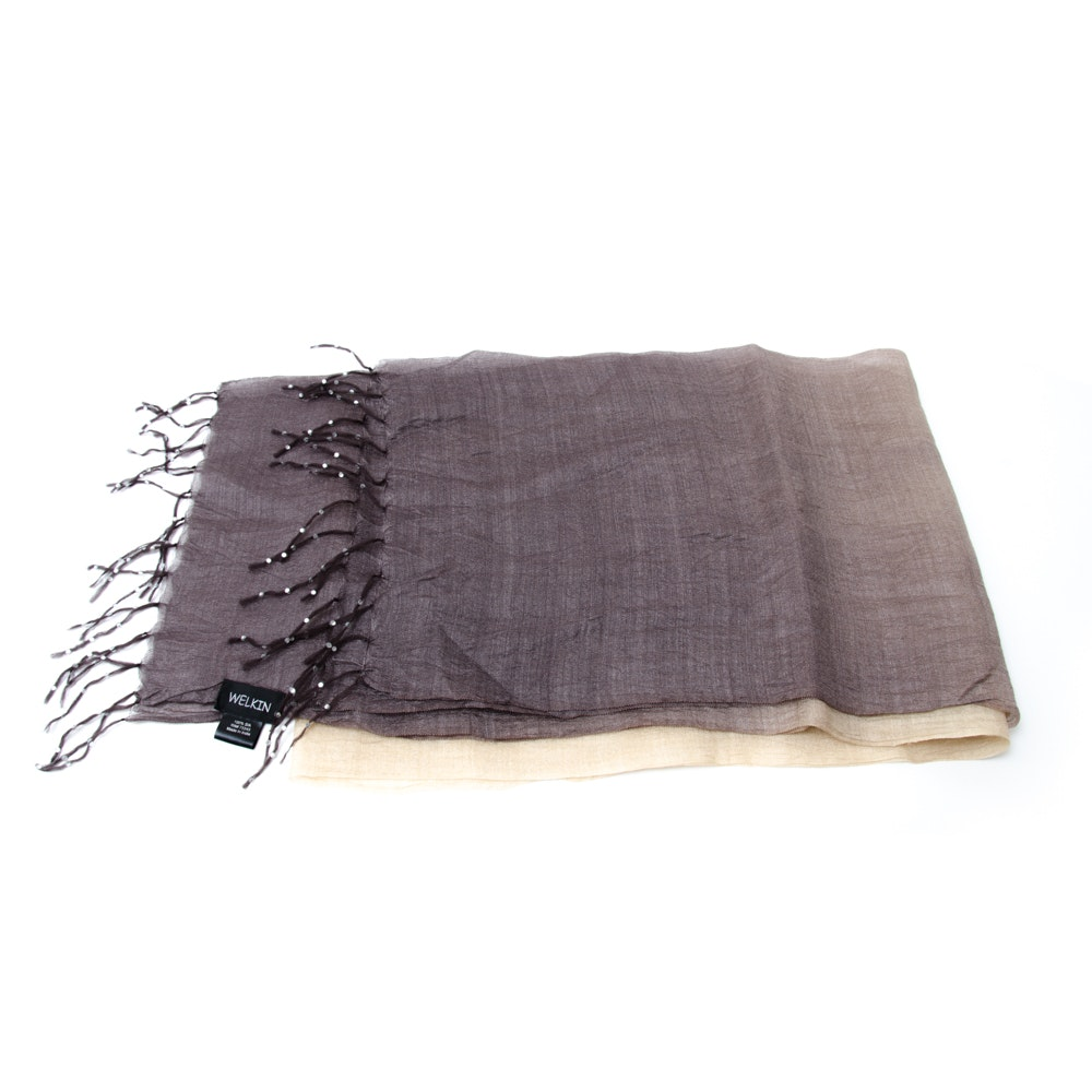 Silk Scarf with Beaded Fringe