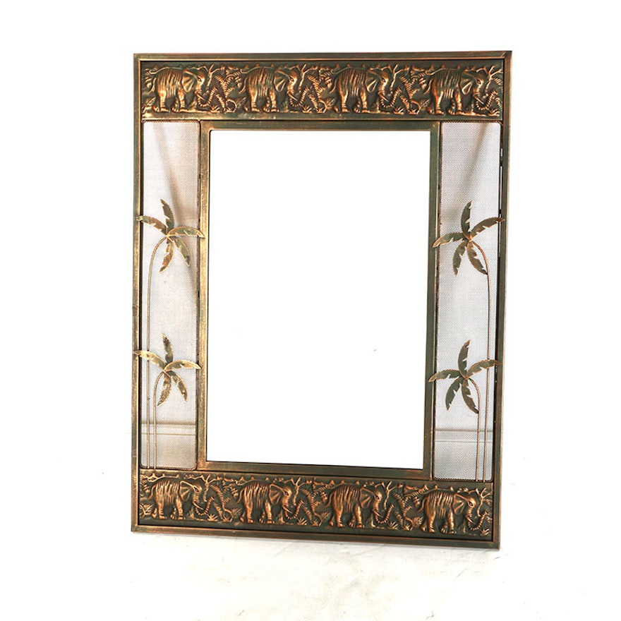 Wall Mirror with Brass Elephant Frame : EBTH
