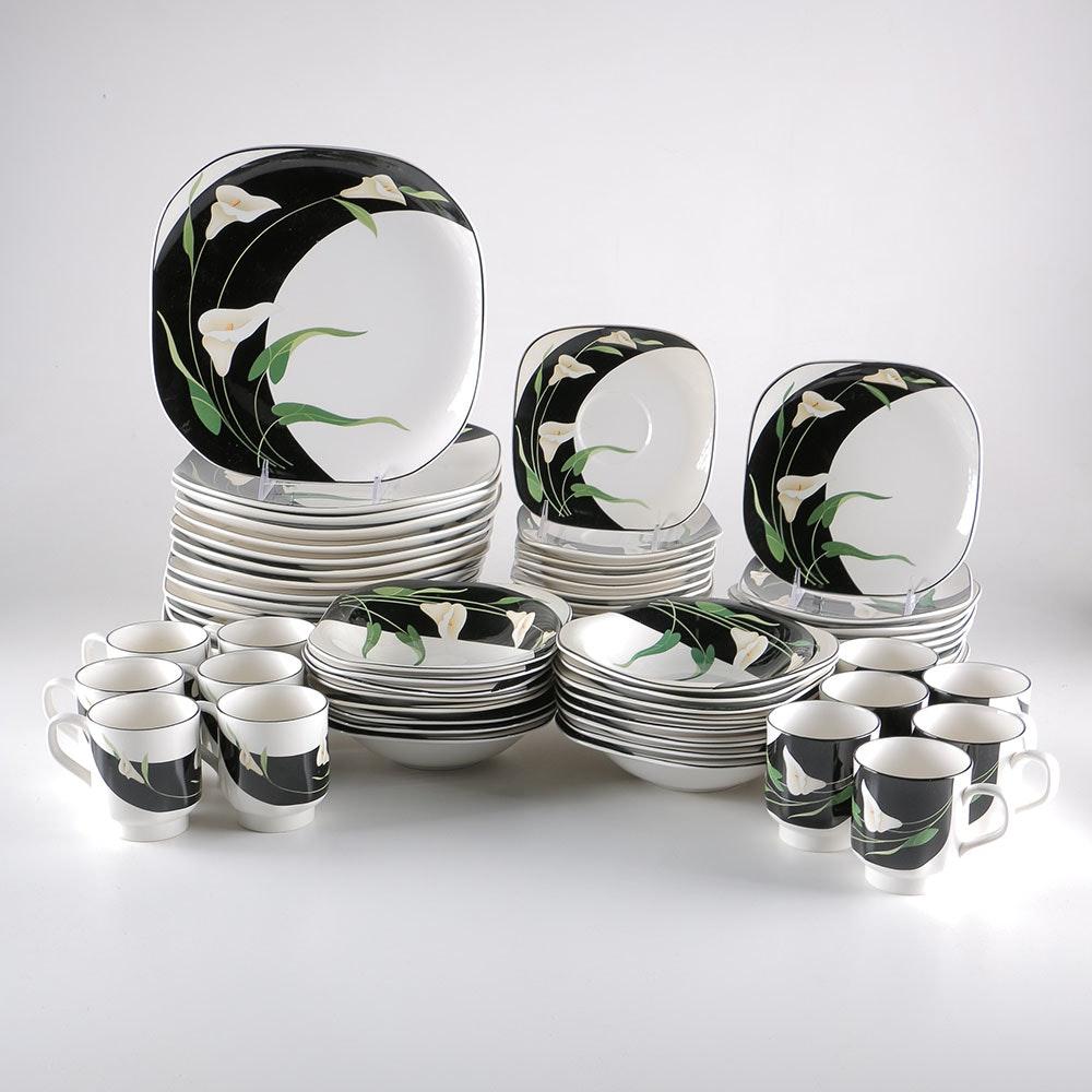 Sango Quadrille \ Black Lilies\  Semi-Porcelain Dishes ... & Sango Quadrille \