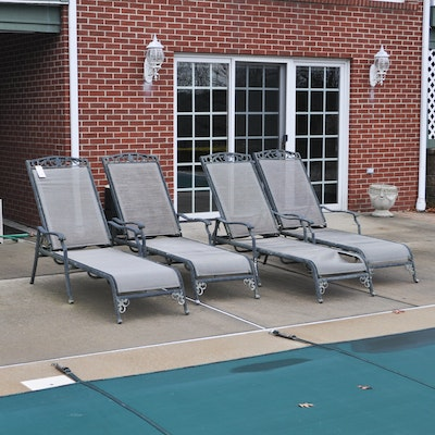 Metal patio chaise lounge ebth for Black metal chaise lounge