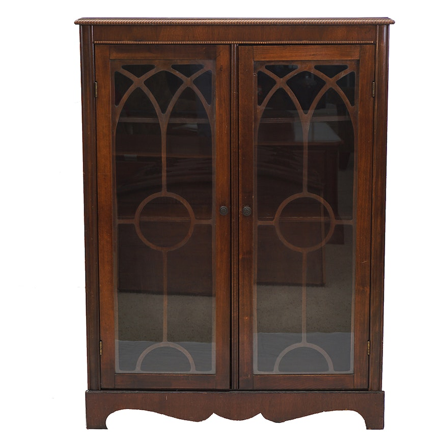 Antique Wood Cabinet Bookcase With Glass Doors Ebth