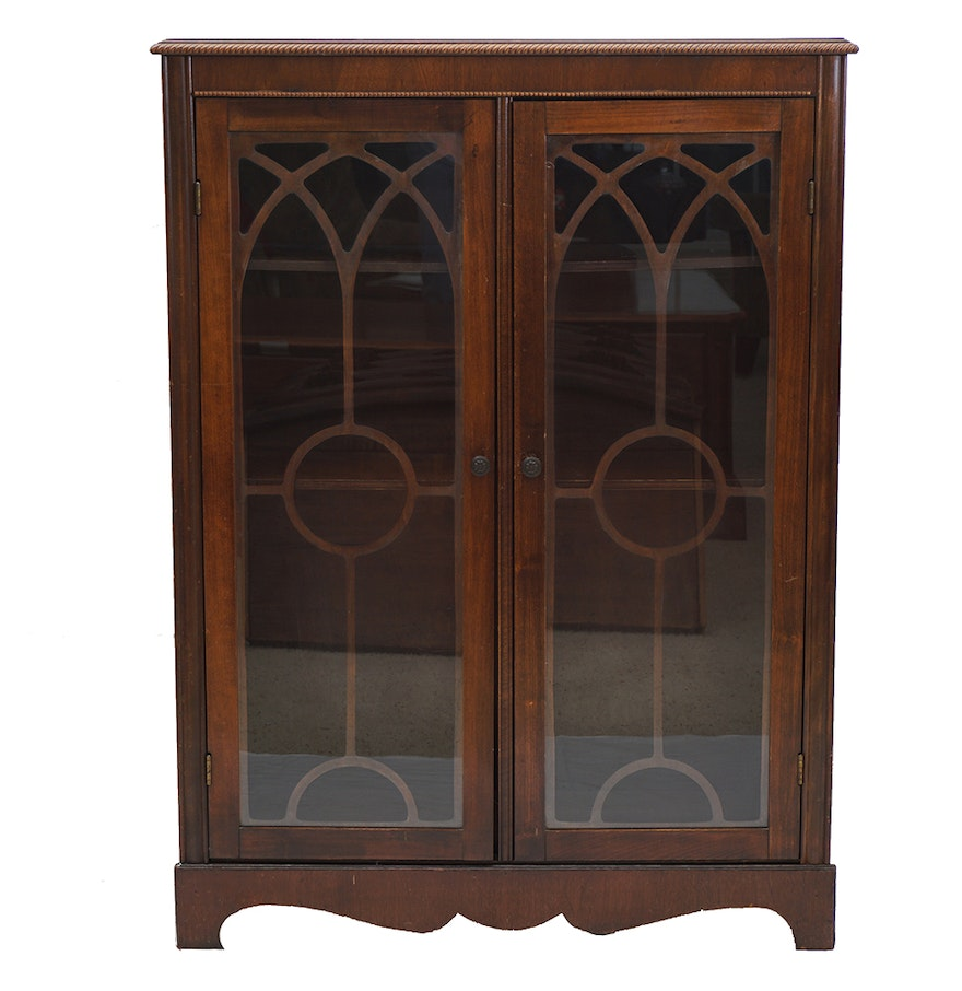 Old Wood Bookcases ~ Antique wood cabinet bookcase with glass doors ebth