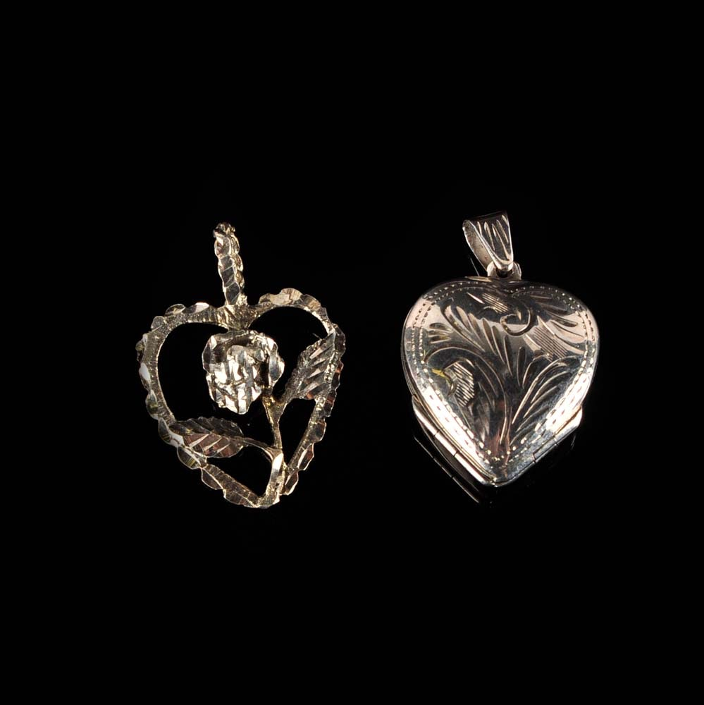 Sterling Silver Heart Pendant and Locket