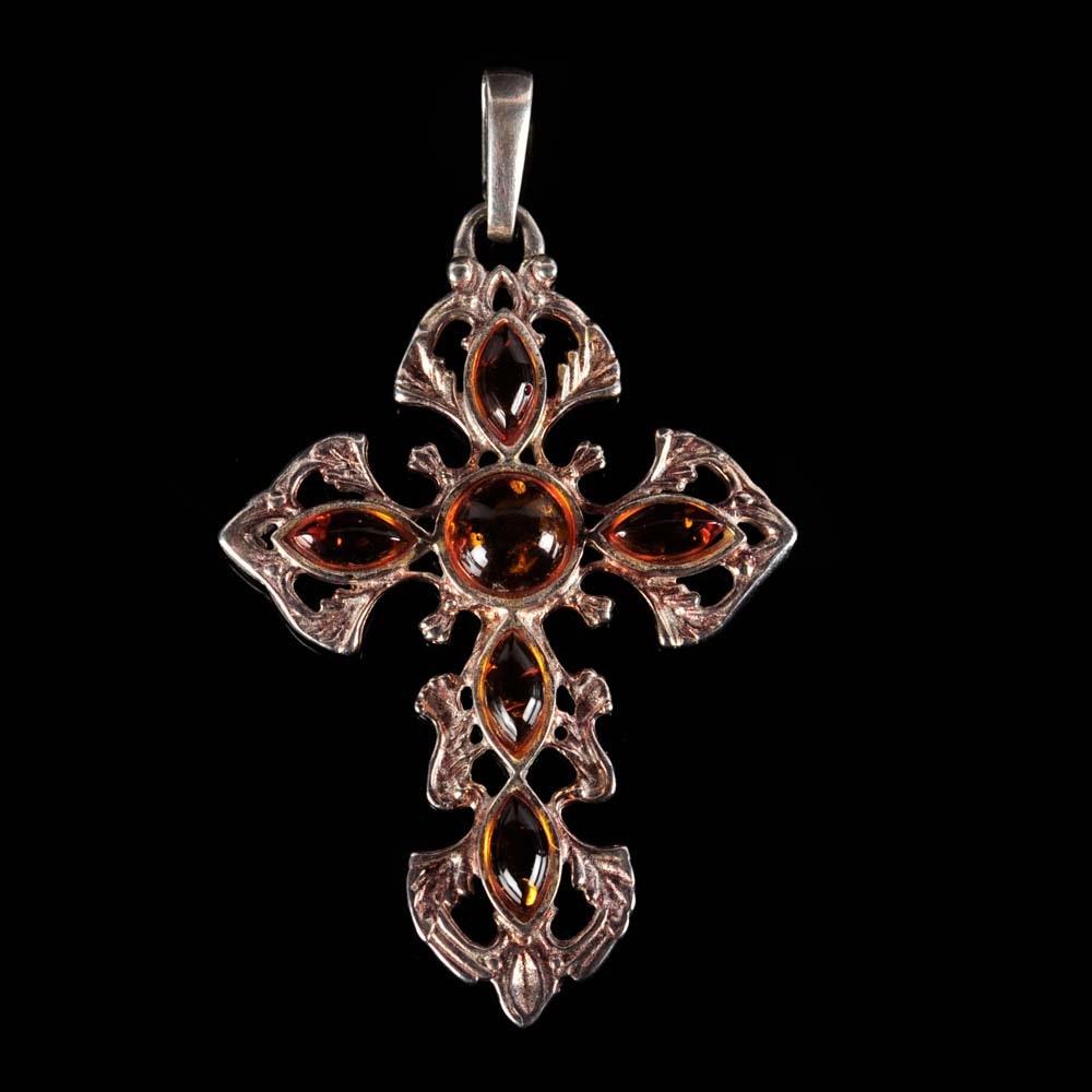 Sterling Silver Amber Cross Pendant