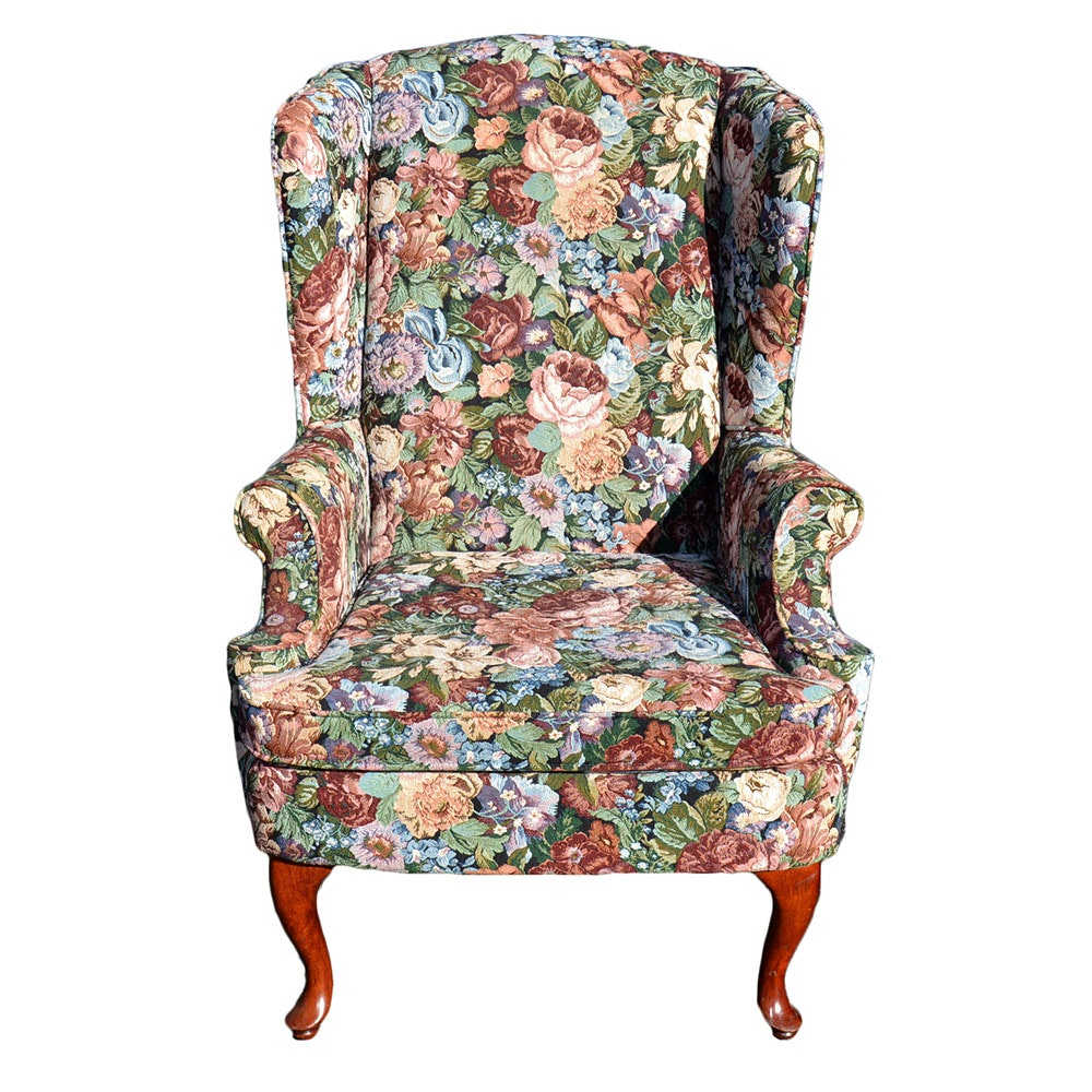 queen anne style floral wingback chair
