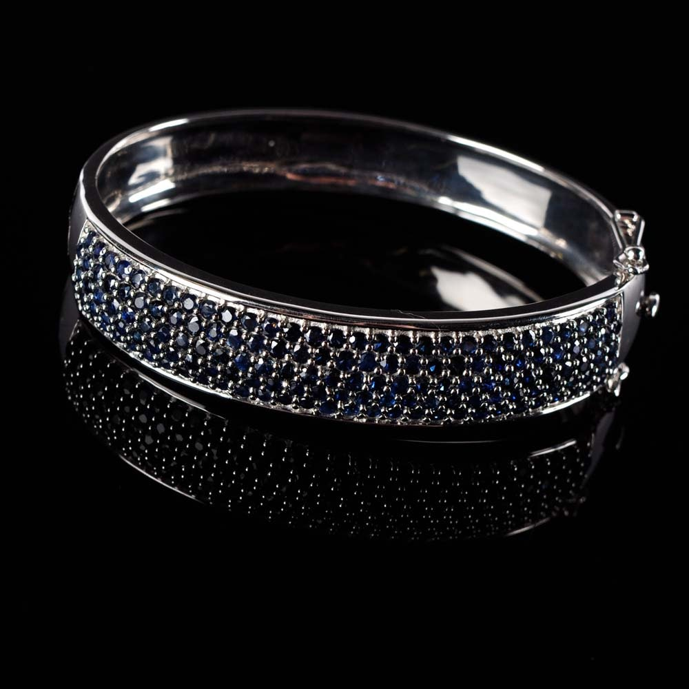 Bold  Sterling Silver and Sapphire Bangle