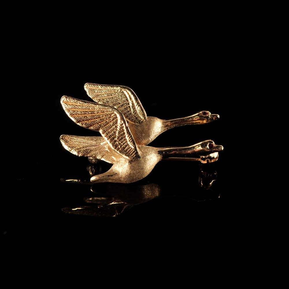 14K Geese Brooch with Ruby Eyes