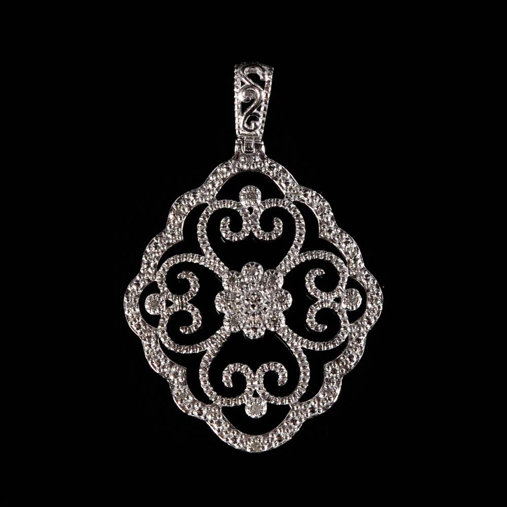 Sterling Silver and Diamond Art Deco Style Pendant