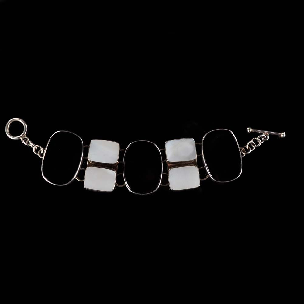 Bold Sterling Silver, Onyx and Mother of Pearl Bracelet