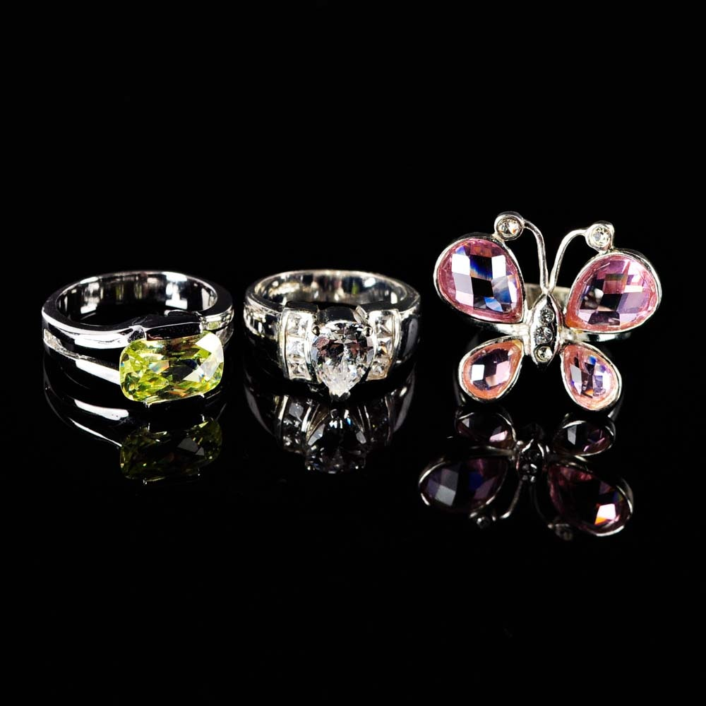 Sterling Silver and Simulated Stone Rings