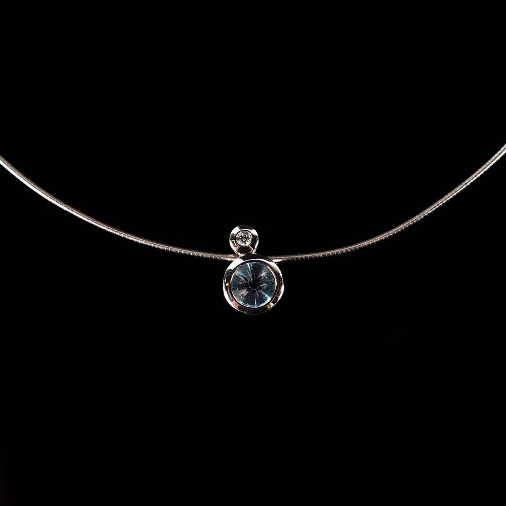 Sterling Silver Blue Topaz and Cubic Zirconia Slide Pendant