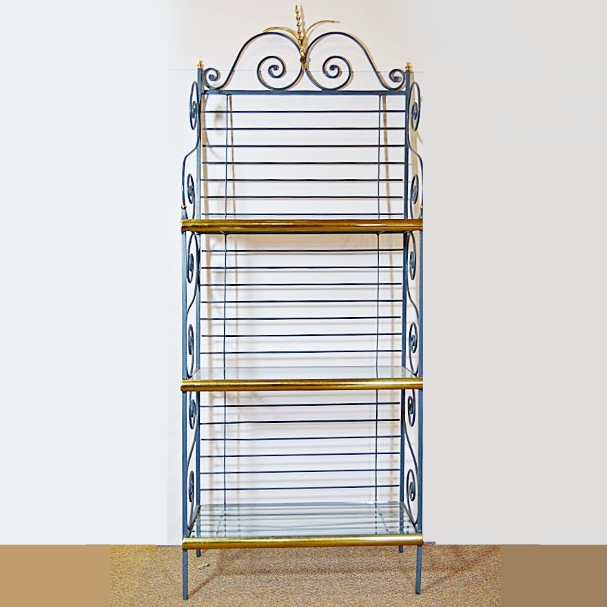 Genial French Style Metal Bakeru0027s Rack With Glass Shelves