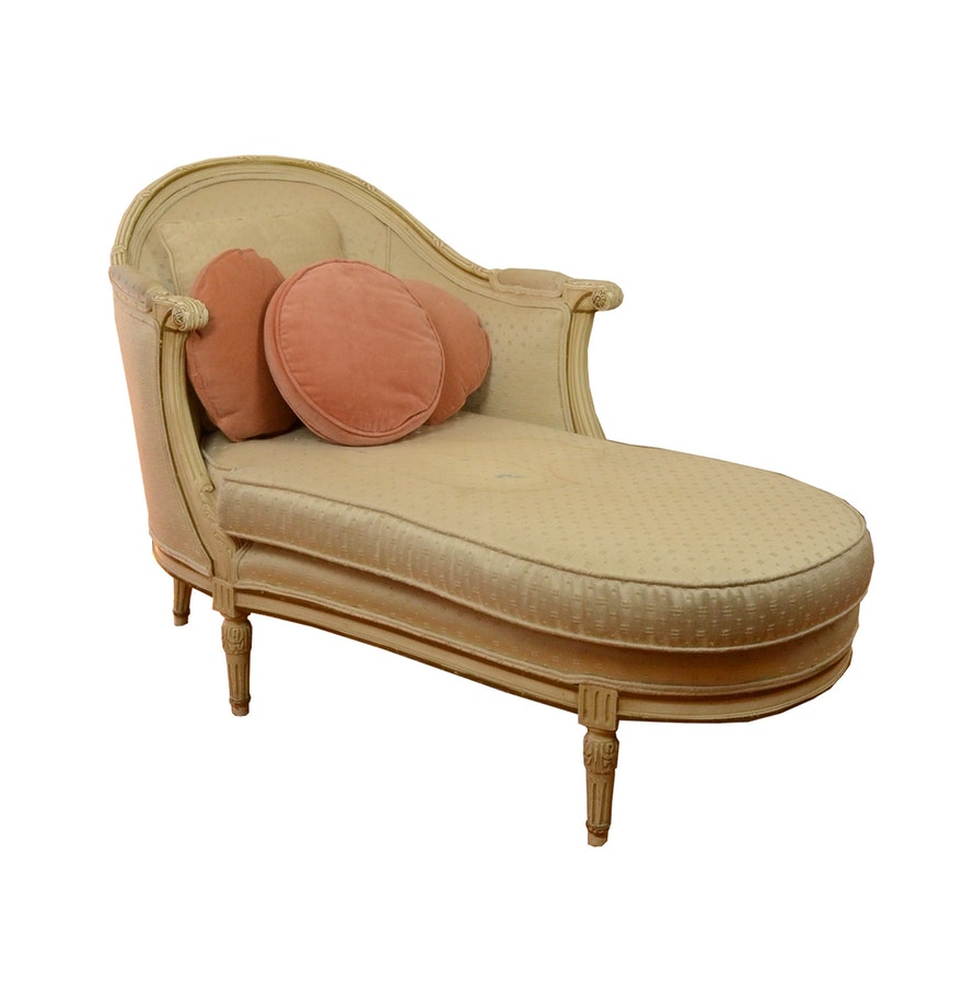louis xvi style upholstered chaise ebth. Black Bedroom Furniture Sets. Home Design Ideas